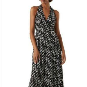White house black market halter maxi dress